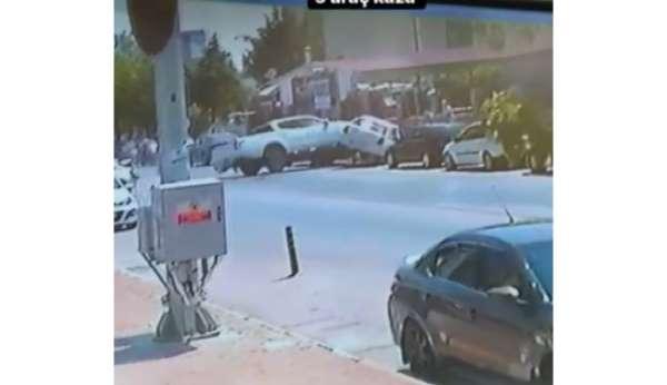 Otoparkta kontrolden çıkan aracın kazası kamerada