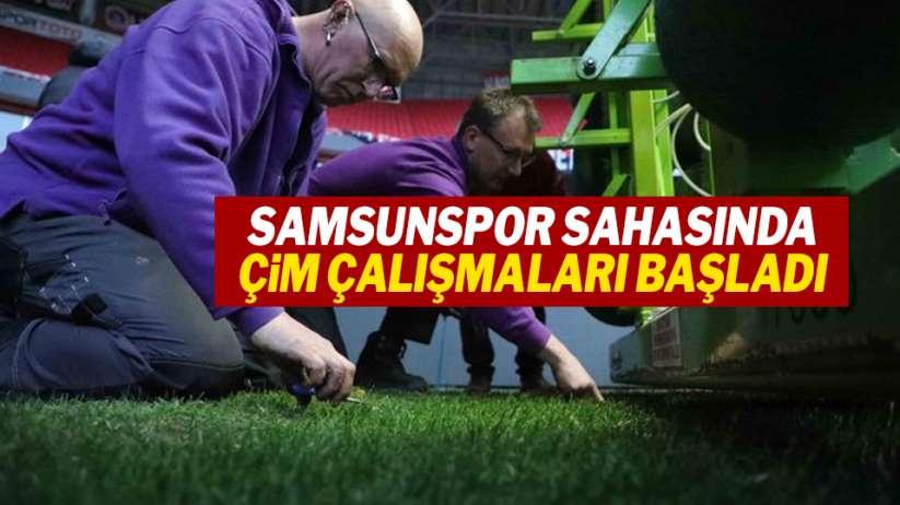 Samsunspor sahasında çim çalışmaları başladı!