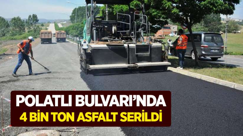 Polatlı Bulvarında 4 bin ton asfalt serildi
