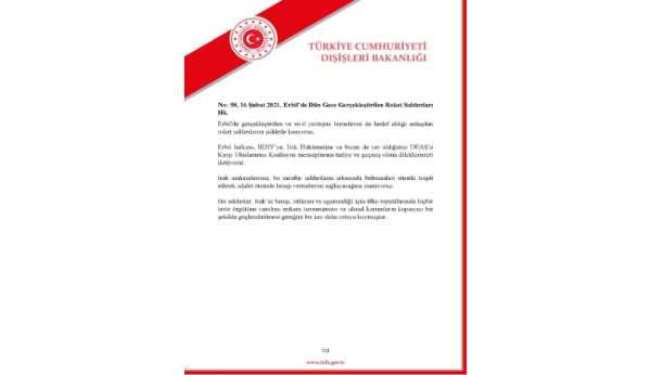 Dışişleri Bakanlığı, Erbil'deki roket saldırısına kınadı