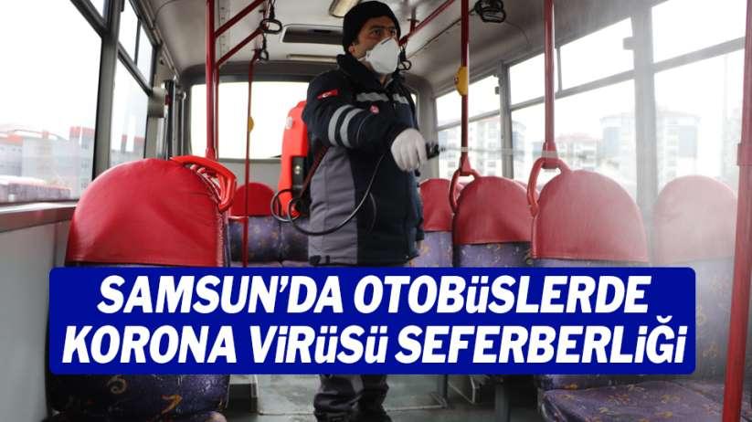 Samsun'da otobüslerde korona virüsü seferberliği
