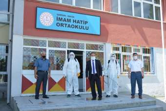 Havza'da okullara dezenfeksiyon
