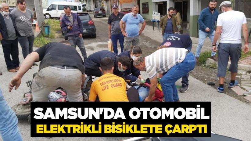 Samsunda otomobil elektrikli bisiklete çarptı