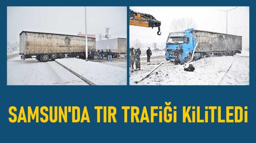 Samsun'da tır trafiği kilitledi