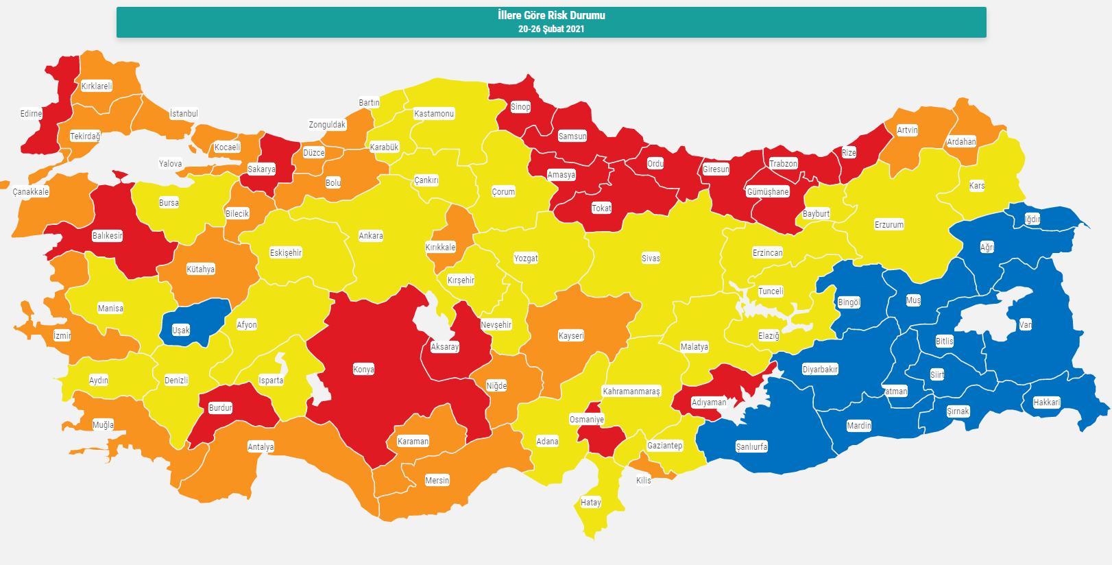 Samsun koronavirüs risk haritası hangi renk? Güncel Samsun risk haritası