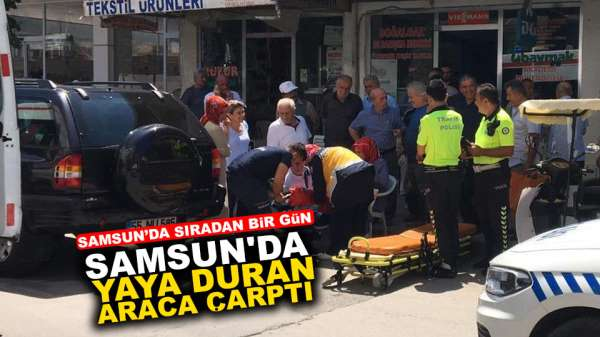Samsun'da yaya duran araca çarptı