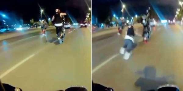 (Özel) Pendik'te motosikletli magandanın tek teker kazası kamerada