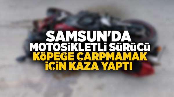 Samsun'da Motosiklet sürücüsü köpeğe çarpmamak için kaza yaptı