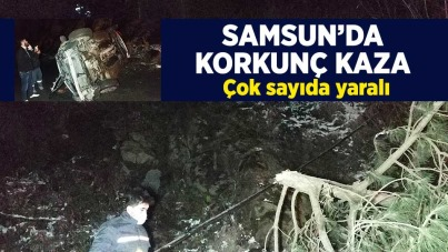 Samsun'da otomobil uçuruma yuvarlandı