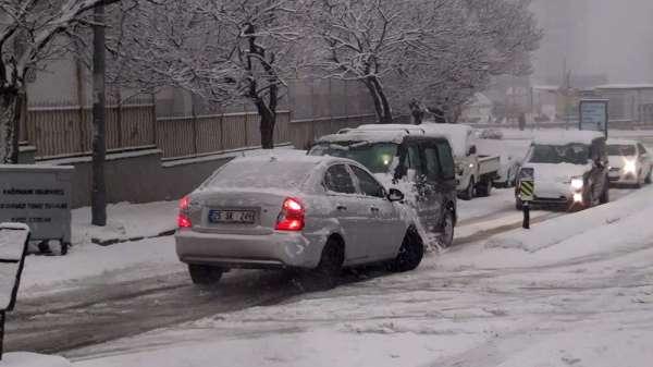 (Özel) Kağıthane'de kar kazası kamerada