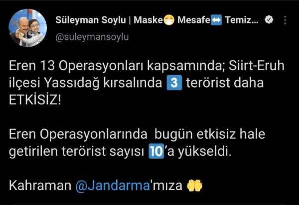 Bakan Soylu: Eren Operasyonlarında bugün etkisiz hale getirilen terörist sayısı 10a yükseldi