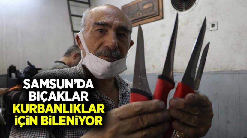 Samsunda bıçaklar kurbanlıklar için bileniyor