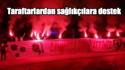 Samsunspor'un 55. kuruluş yıl dönümünde taraftarlardan sağlıkçılara destek