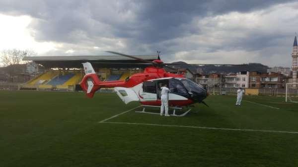 Korona hastası ambulans helikopterle Trabzona sevk edildi