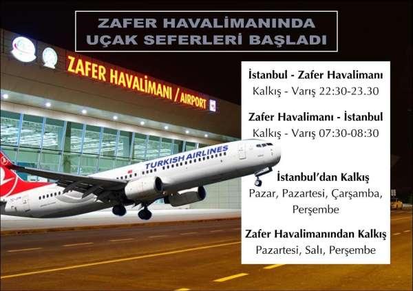 Zafer Havalimanında uçak seferleri başladı
