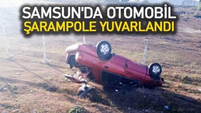 Samsun'da otomobil şarampole yuvarlandı