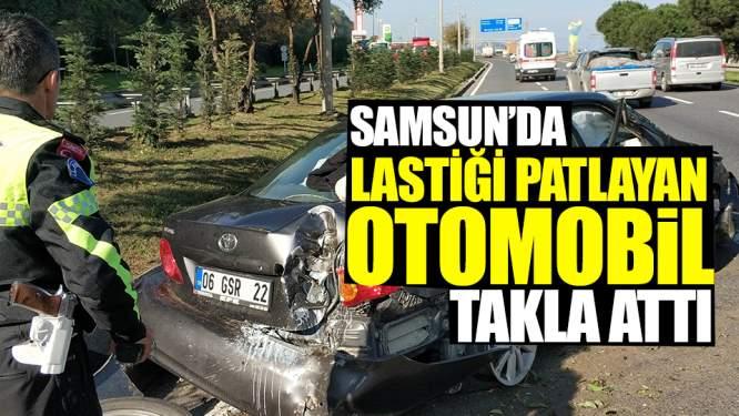 Samsun Haberleri: Samsun'da Lastiği Patlayan Otomobil Takla Attı!