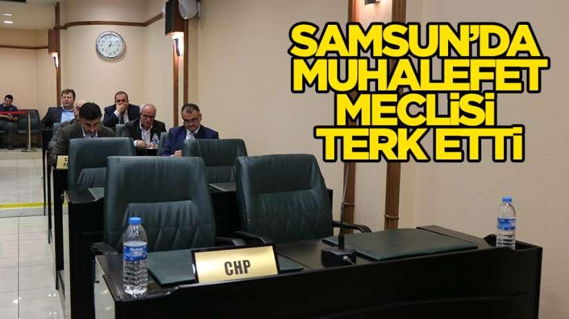 Samsunda muhalefet meclisi terk etti