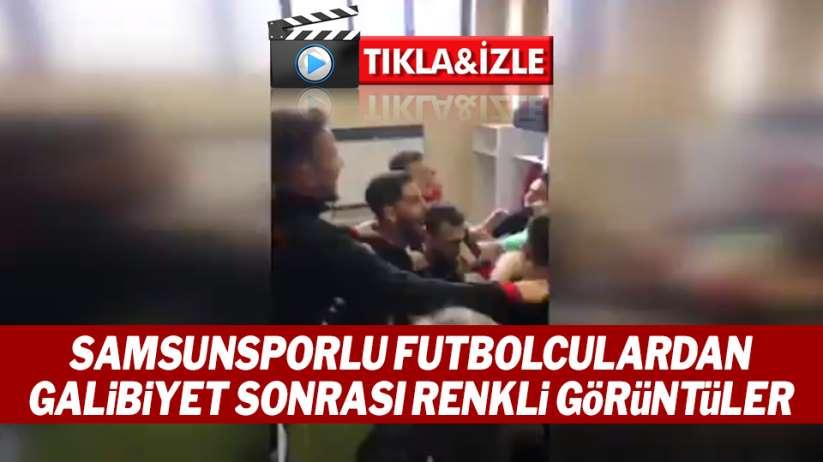 Samsunsporlu futbolculardan galibiyet sonrası renkli görüntüler