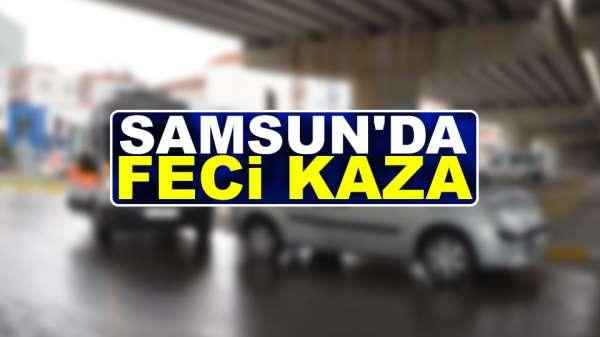 Samsun'da feci kaza otomobil ili motosiklet çarpıştı
