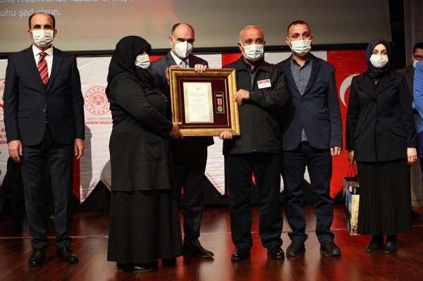 Konyada gazilere ve şehit ailelerine Devlet Övünç Madalyası verildi