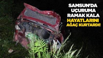 Samsun'da uçuruma ramak kala hayatlarını ağaç kurtardı!