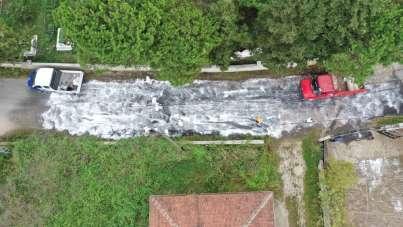 Altınordu'da sokak ve caddeler temizlenip dezenfekte ediliyor