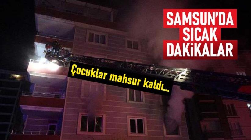 Samsun'da çocukları alev kapanından çekip aldılar