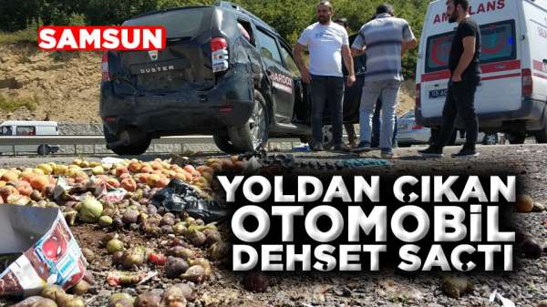 Samsun'da yoldan çıkan araç dehşet saçtı