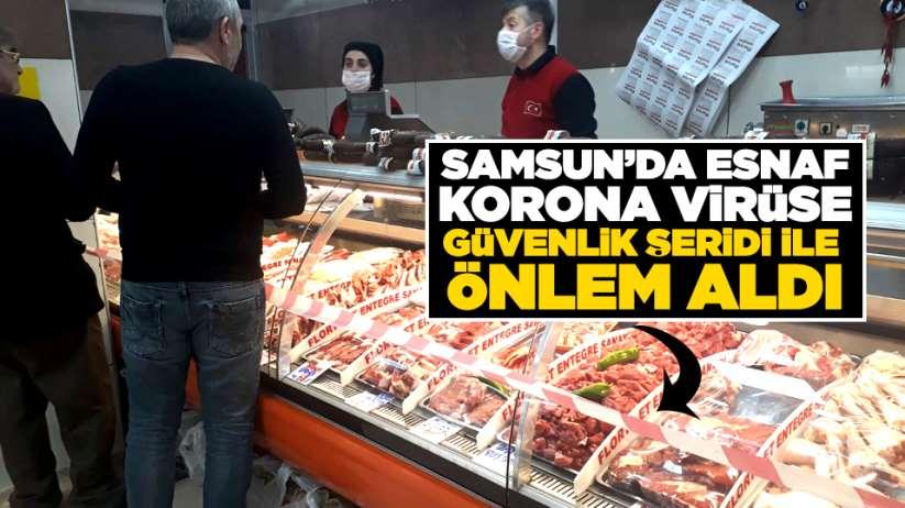 Samsun'da esnaf korona virüse güvenlik şeridi ile önlem aldı