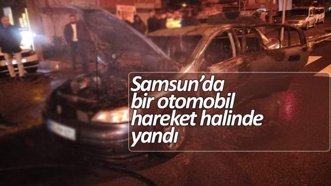 Samsun'da otomobil yandı