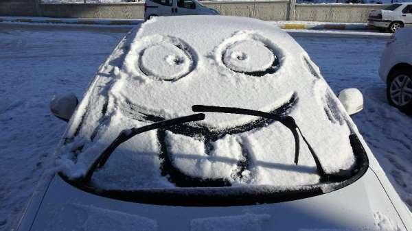 Karla kaplı otomobiller gülümsetti
