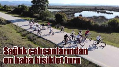 Sağlık çalışanlarından Kızılırmak Deltası Kuş Cenneti'nde bisiklet turu
