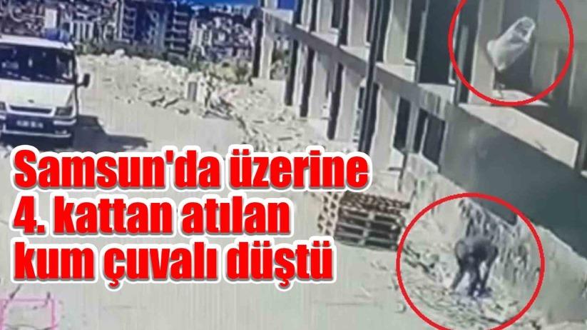 Samsunda üzerine 4. kattan atılan kum çuvalı düştü