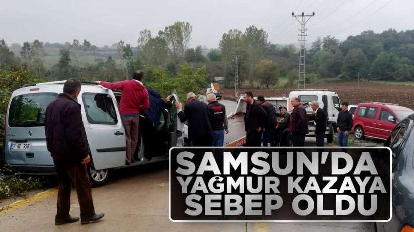 Samsun'da yağmur kazaya sebep oldu