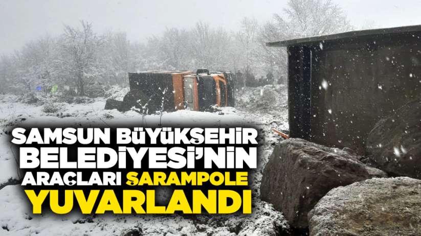 Samsun'da kar mücadelesinde kaza