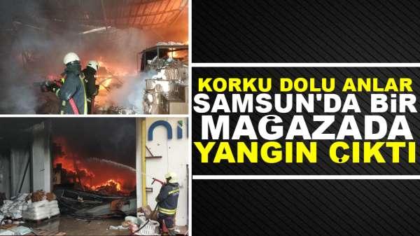 Samsun'da iş yerinde büyük çaplı yangın