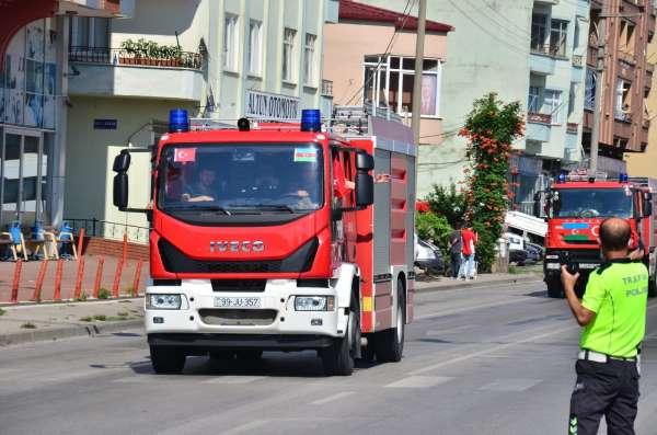 Azerbaycanın itfaiye konvoyu Samsuna ulaştı