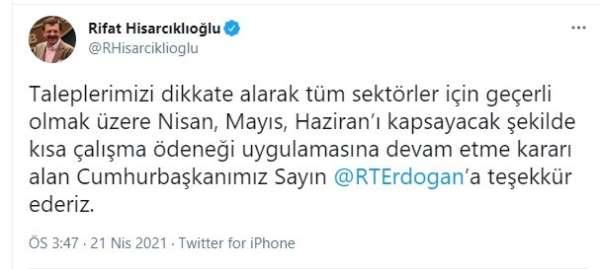 TOBB Başkanı Hisarcıklıoğlundan Cumhurbaşkanı Erdoğana teşekkür