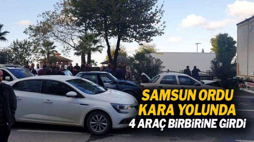 Samsun-Ordu kara yolunda 4 araç birbirine girdi