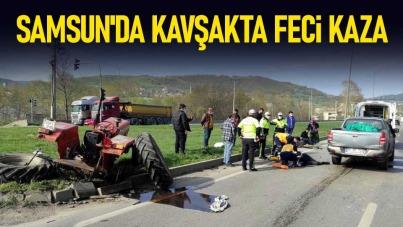 Samsun'da kavşakta feci kaza