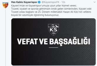 Kayserispor'dan Kilci ailesine başsağlığı mesajı