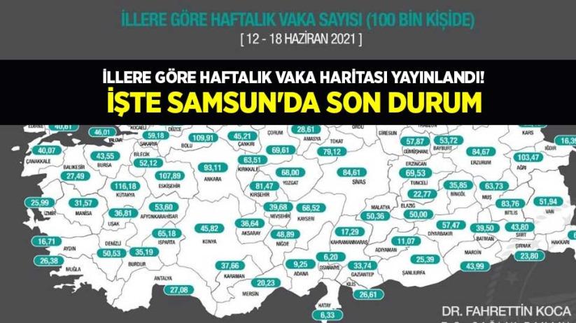 İllere göre haftalık vaka haritası yayınlandı! İşte Samsunda son durum
