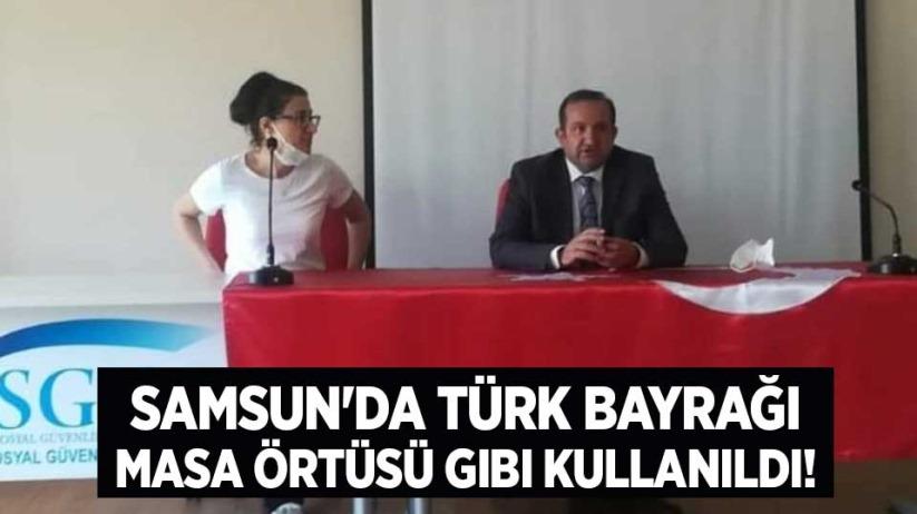 Samsunda Türk Bayrağı masa örtüsü gibi kullanıldı