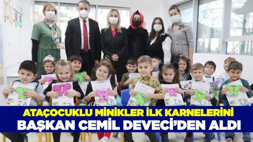 AtaÇocuklu minikler ilk karnelerini Başkan Cemil Deveciden aldı
