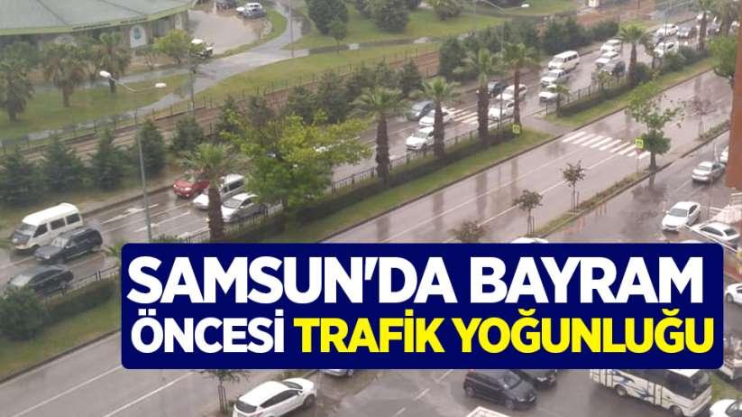 Samsun'da bayram öncesi trafik yoğunluğu