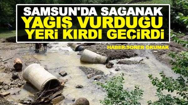 Samsun'da Sağanak Yağış Vurduğu Yeri Kırdı Geçirdi