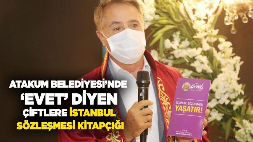Atakum Belediyesinde evet diyen çiftlere İstanbul Sözleşmesi kitapçığı