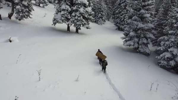 Zorlu kış şartlarında yaban hayatı unutulmadı