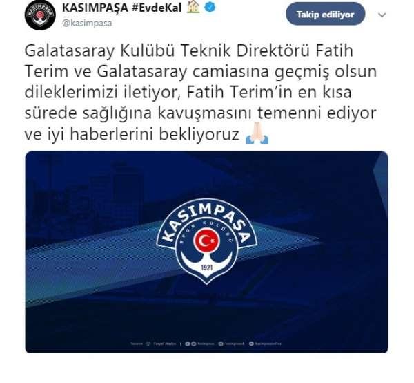 Kasımpaşa'dan Fatih Terim'e geçmiş olsun mesajı